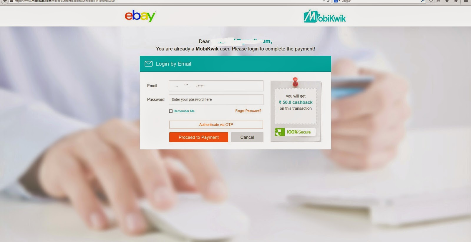 buy anything on ebay, get Rs. 50 cashback on Mobikwik