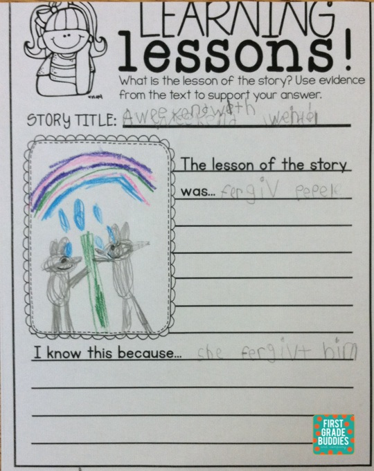 First Grade Buddies Determining the Central Message and – First Grade Main Idea Worksheets