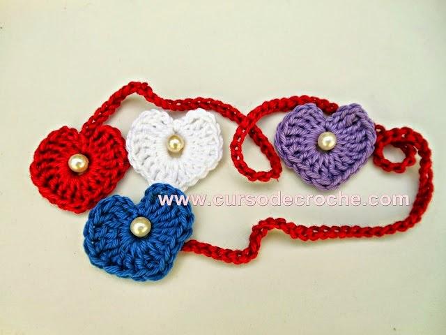coração mini coração biju aprender croche receita edinir-croche dvd video aulas loja curso de croche frete gratis