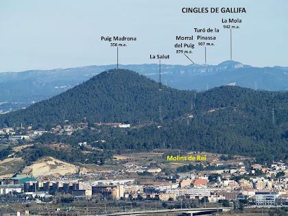 El Puig Madrona i al seu darrere els Cingles de Gallifa des de l'extrem nord del Serrat de la Torrassa