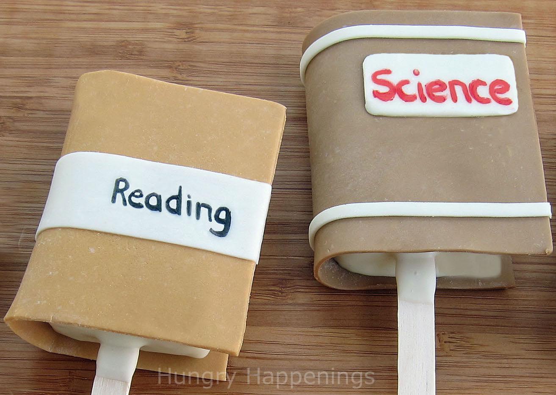 Cute School Book Cover Ideas ~ Rice krispie treat school book pops hungry happenings