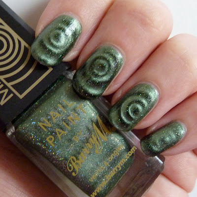 Barry M - Magnetic Green Sparkle Nail Polish Swatch