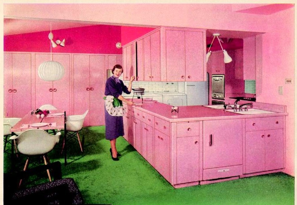 All Pink Kitchen farm girl pink.: ~ vintage pink kitchens. cabinets.
