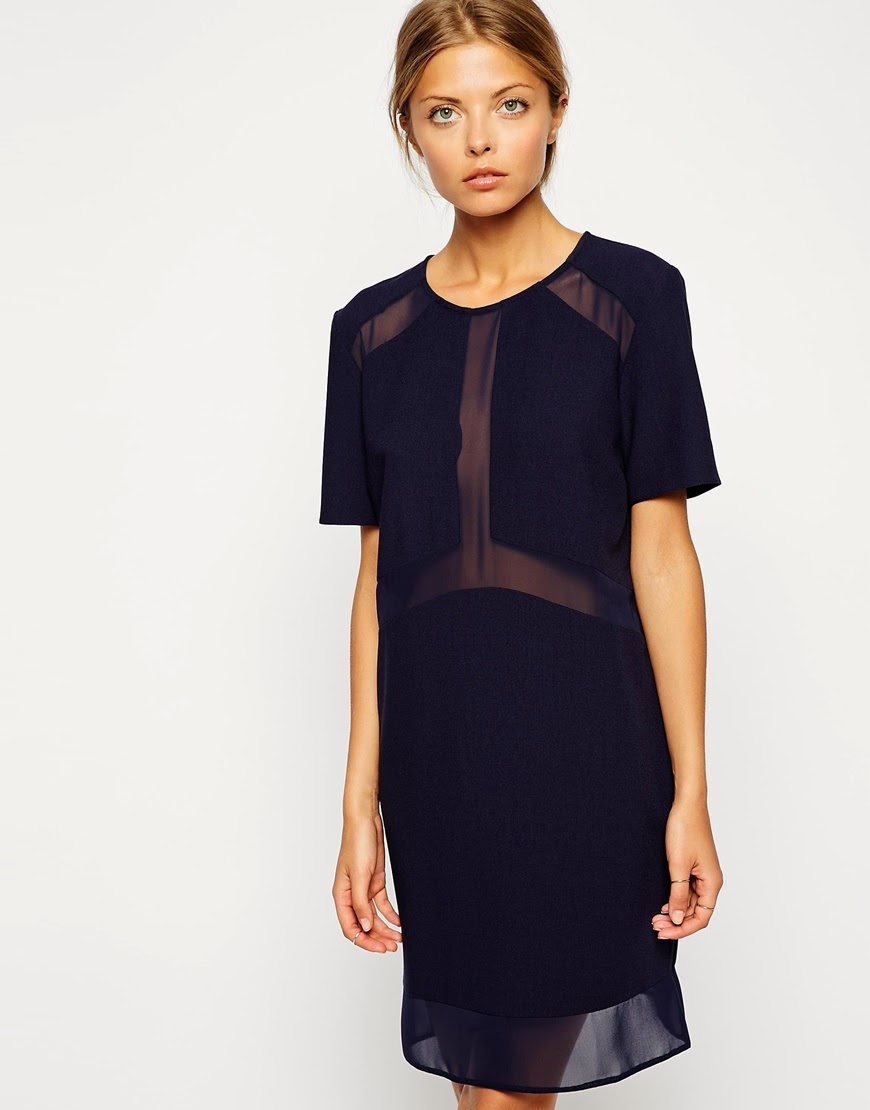 navy mesh dress