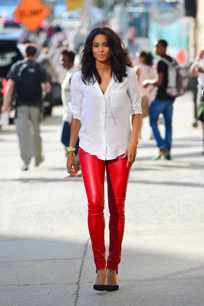 Ciara in Red Leather Pants Leaving a Studio in New York