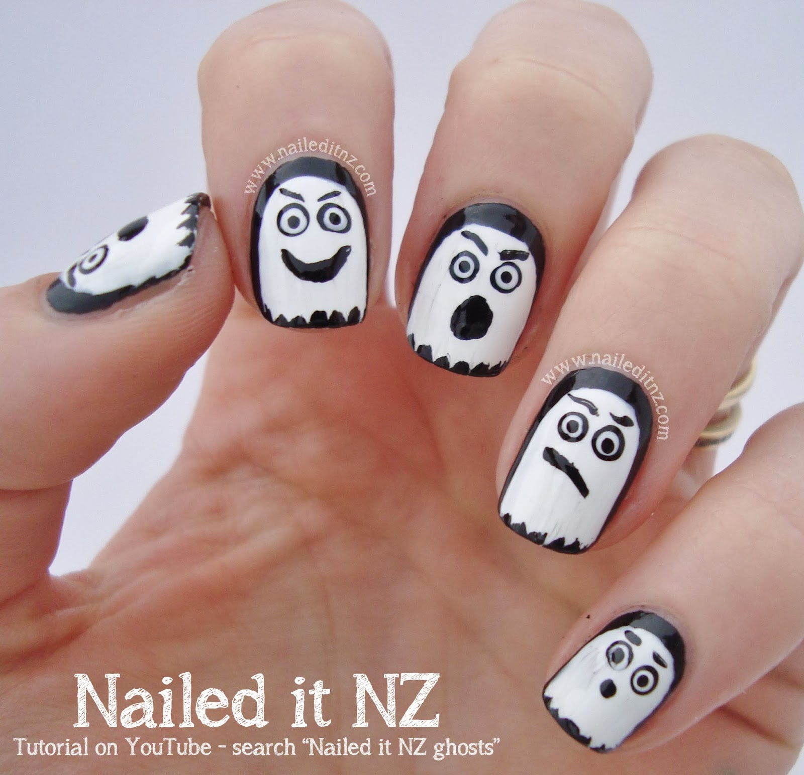 Halloween ghosts nail art tutorial an error occurred prinsesfo Gallery