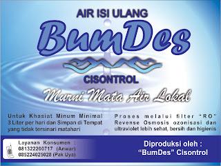 Pembuatan Stiker Air Isu Ulang BUMDES Cisontrol Rancah