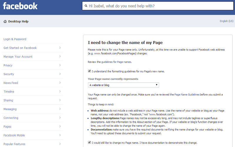 How to change the name of your FB page