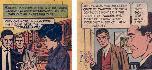 panel 1: Solo (Vaughn) and generic Kuryakin; panel 2: Solo (Vaughn) and generic Waverly