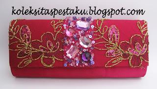 Clutch Bag Dompet Pesta Ungu ANggur Mewah Cantik