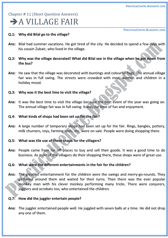 a-village-fair-questions-answers-english-x