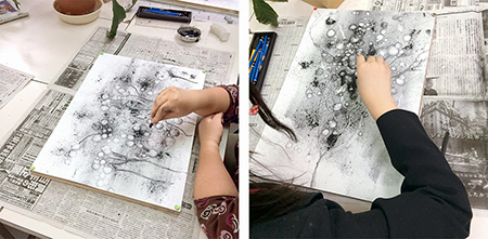 横浜美術学院の中学生教室 美術クラブ 制作風景2