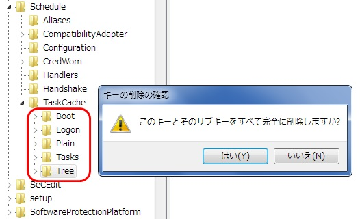 「Boot」「Logon」「Plain」「Tasks」「Tree」