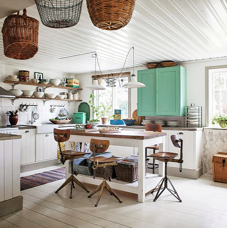 Shabby chic cottage wood kitchen