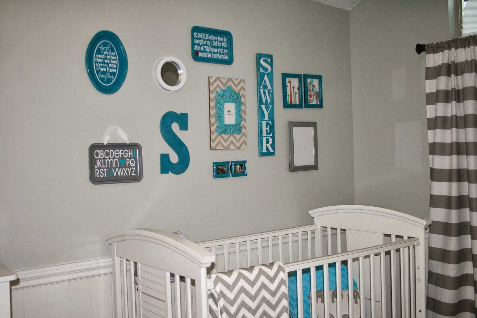 Creative juices baby room decor and collage wall for Baby room mural ideas