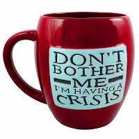 "Photo of ""Don't bother me I'm having a crisis"" burgundy mug"