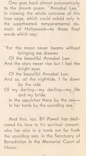 Annabel Lee, Edgar Allan Poe excerpt from William Powell's Spirit Bride article