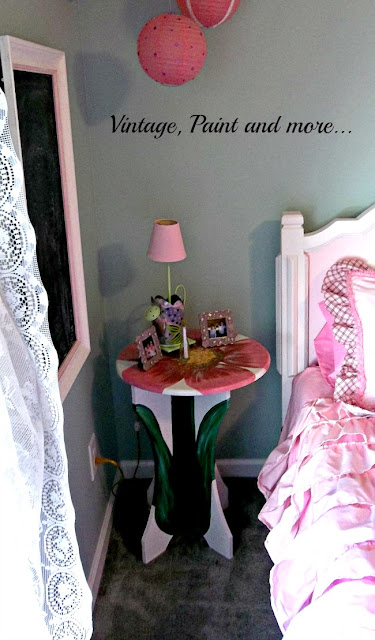 Vintage, Paint and more.. a pink girly girl room with a diy flower table and thrifted accessories
