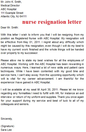 Perfect Nurse Resignation Letter Sample