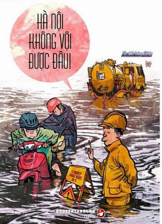 Một số hình ảnh hài hước về Hà nội mùa mưa