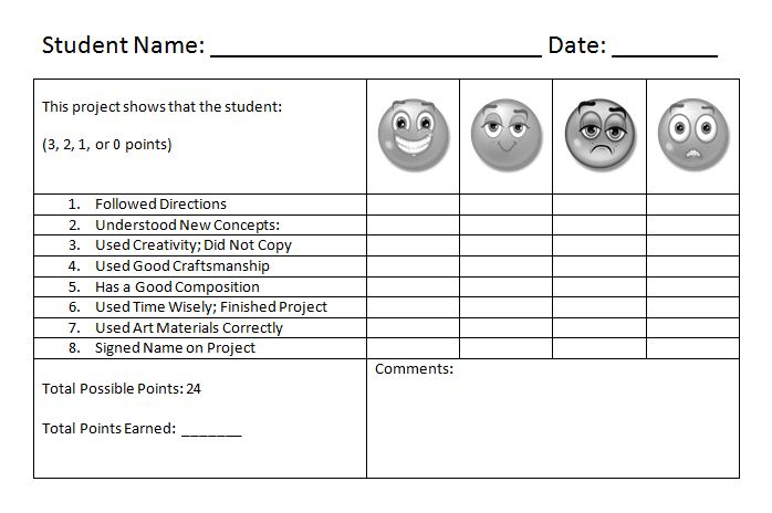 Line Art Rubric Grade : Art room rubrics galore
