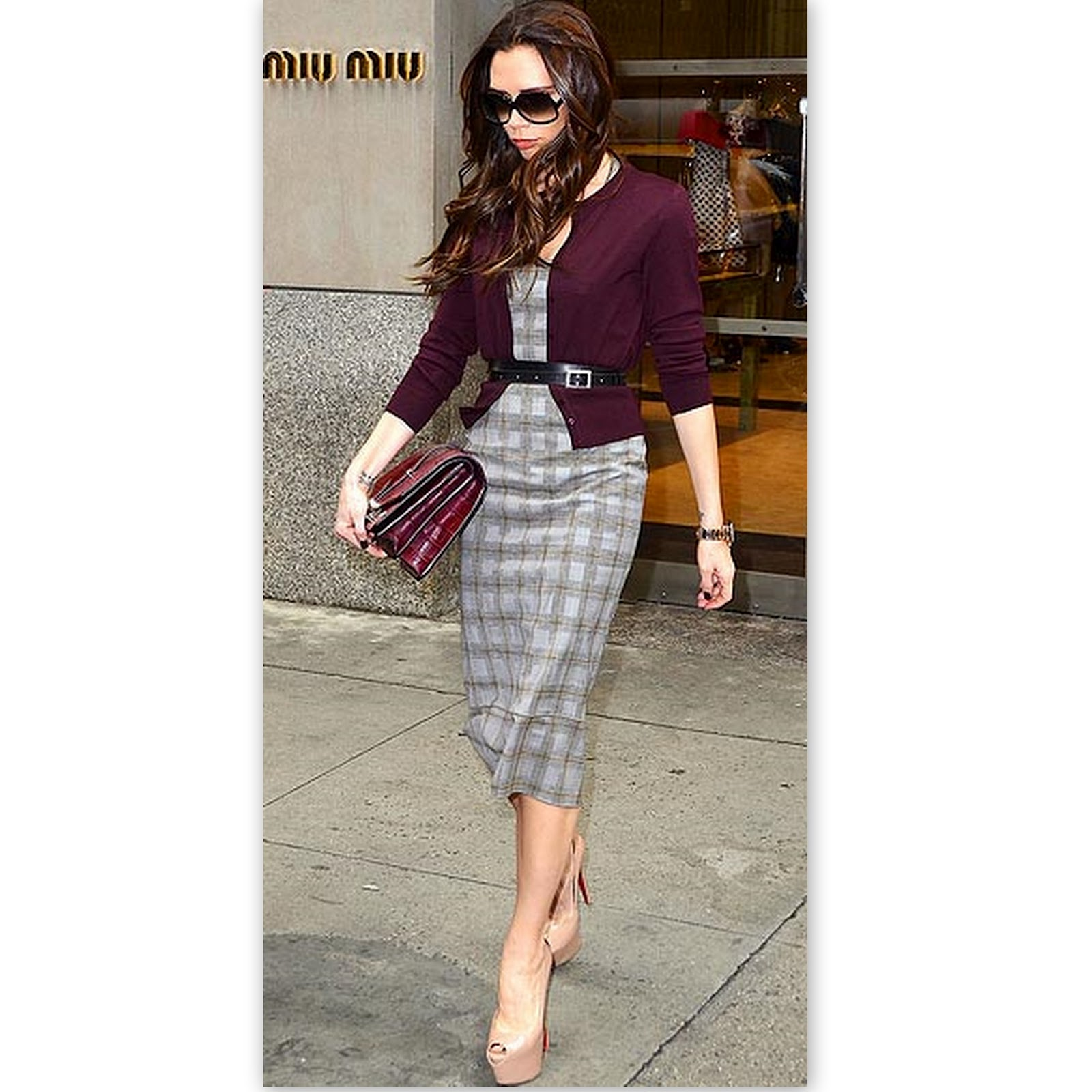 Victoria Beckham In A Gray Midi Dress With Burgundy Cardigan And Clutch Bag Addition Pale Pink Toe Pumps Thin Black Belt