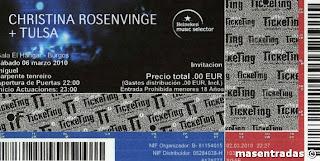 entrada de concierto de christina rosenvinge