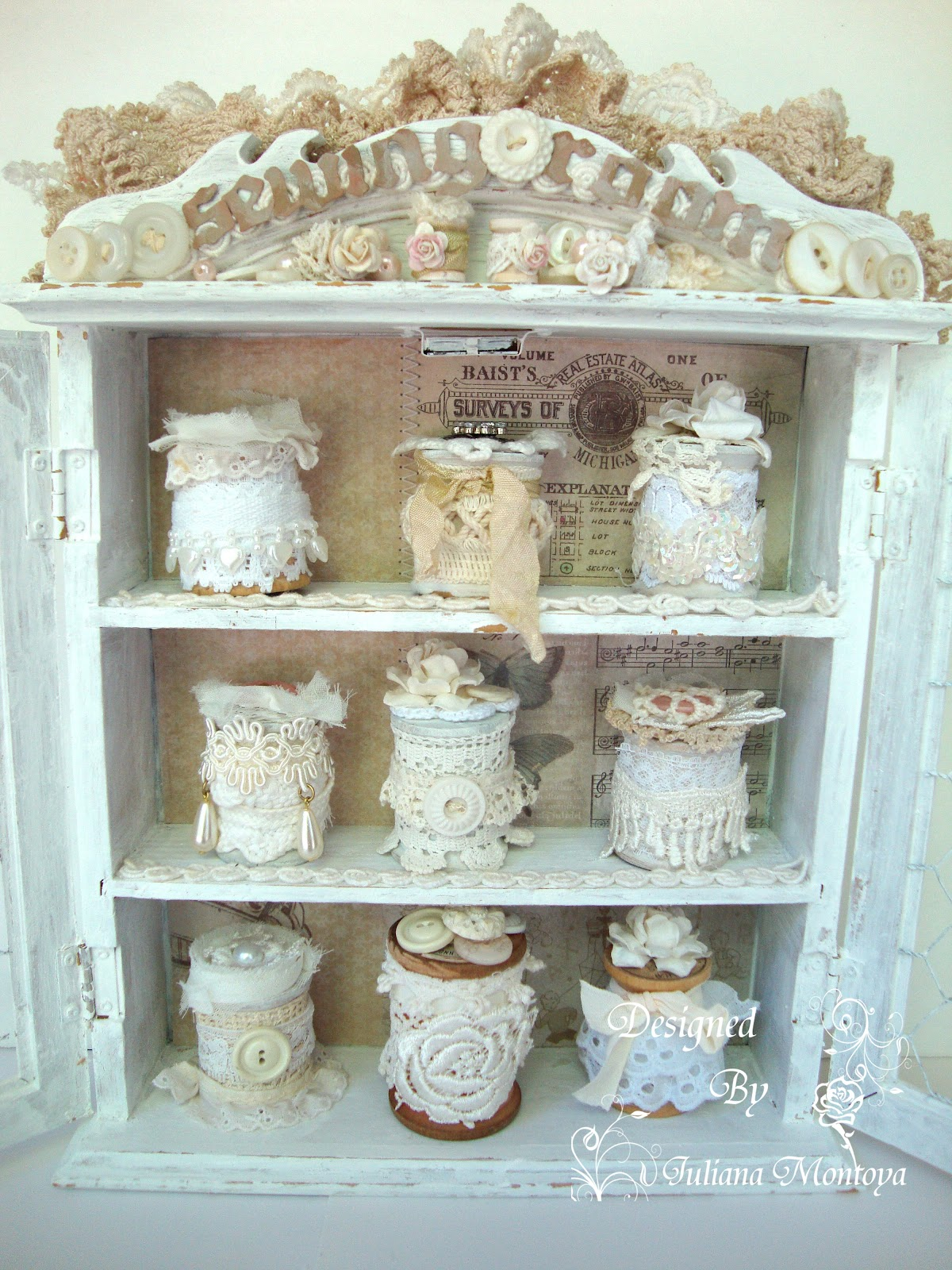 attic sewing room ideas - ShabbyChicJCouture Sewing Room Cabinet Vintage Shabby Chic