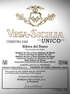 ETIQUETA VEGA-SICILIA ÚNICO 1962