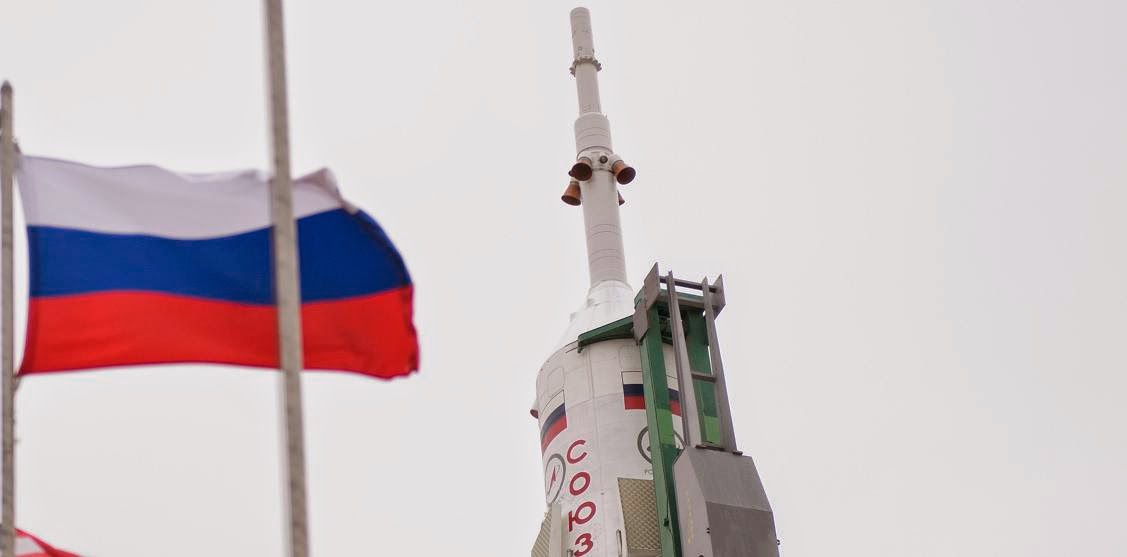 The Soyuz TMA-12M spacecraft is seen after being erected on the launch pad on Sunday, March 23, 2014, at the Baikonur Cosmodrome in Kazakhstan. Credit: NASA/Joel Kowsky