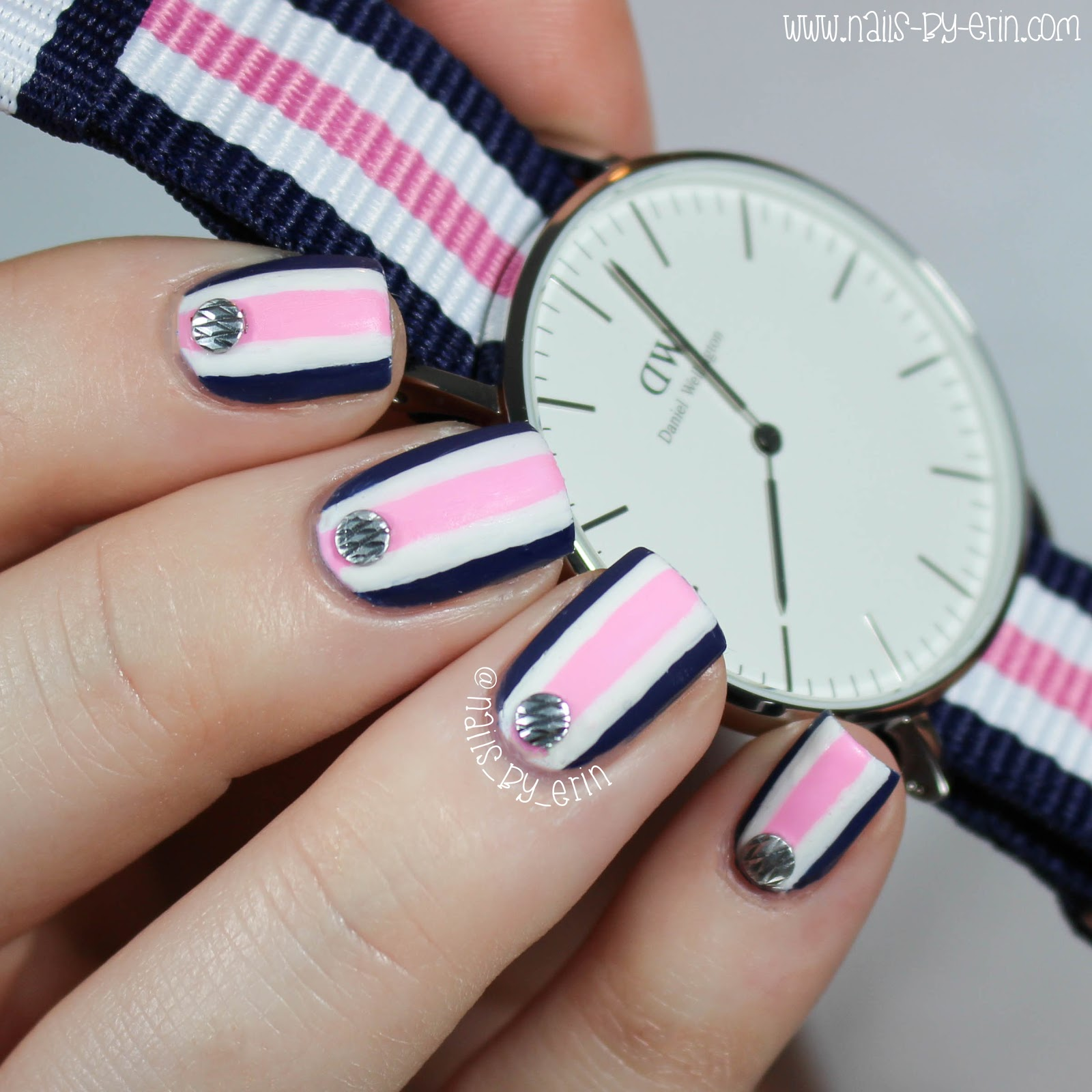 NailsByErin: Navy and Pink Striped Nails   Daniel Wellington Watch ...