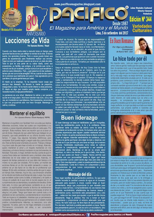 Revista pacífico Nº 344 Variedades Culturales