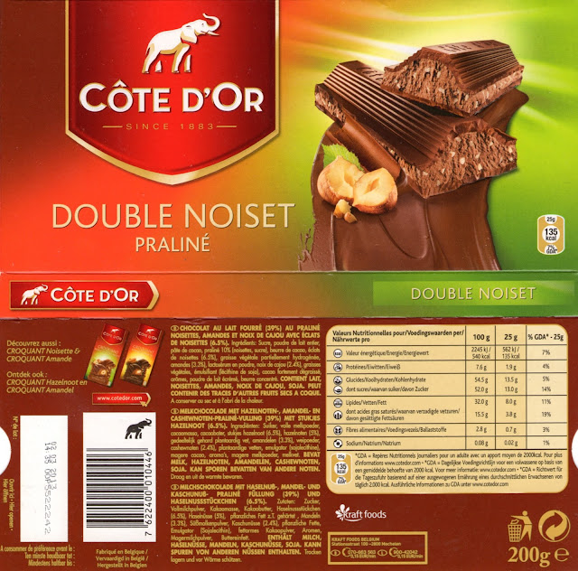 tablette de chocolat lait gourmand côte d'or lait praliné double noiset version belgique