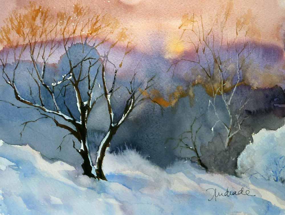 Acrilicos y acuarelas con diferentes estilos paisaje - Paisajes nevados para pintar ...