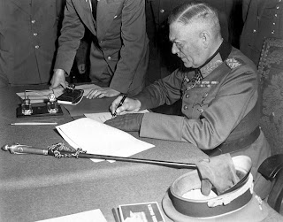 WW2 ends-Nazi Germany capitulates-Field-Marshal Keitel signing the ratified surrender terms for the German military