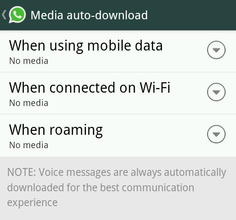 Disable WhatsApp Auto-download