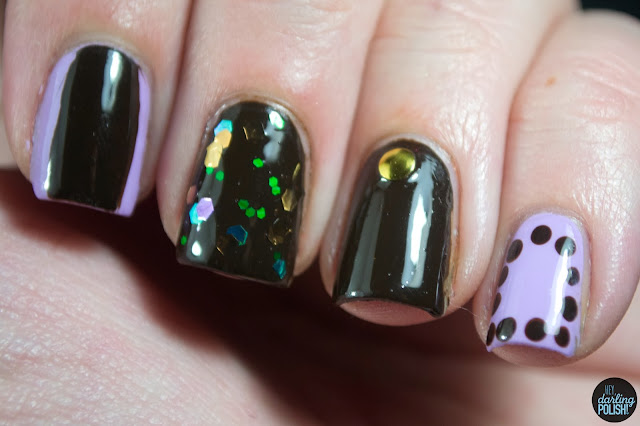 nails, nail art, nail polish, brown, purple, sally hansen lacey lilac, american apparel raccoon, love angeline enchanted forest, glitter, dots, studs