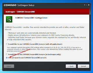 I would like to use COMODO SecureDNS Server.