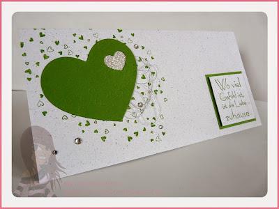 Rosa Mädchen Stampin' Up! Hochzeitskarte mit Puzzleherz und dem Set Confetti