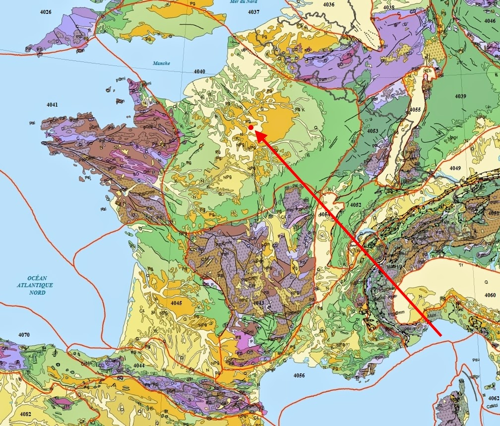 paris red dot within the extensive anglo paris basin on a jurassic through neogene surficial geology map