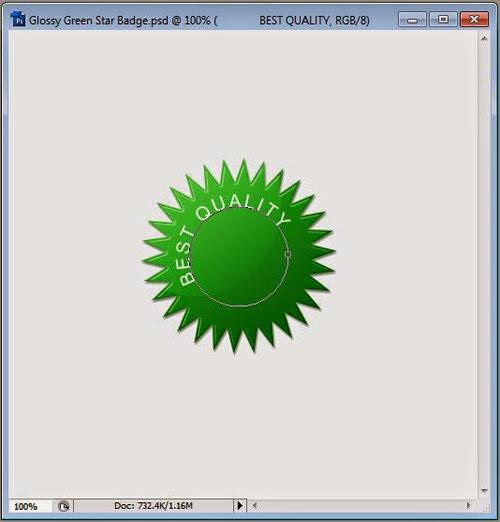 Create Green Glossy Star Badge