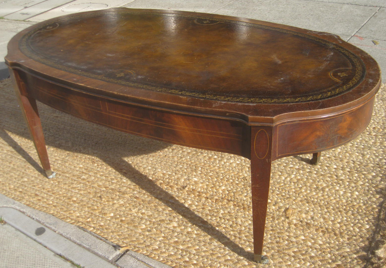 uhuru furniture collectibles sold leather top coffee table 60