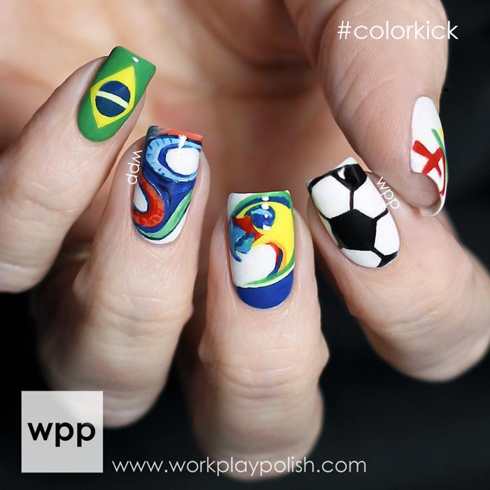 Pure Ice World Cup 2014 Brazil Nail Art #colorkick