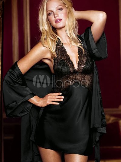 2PC Seduce Slip Satin Sleepwear Black