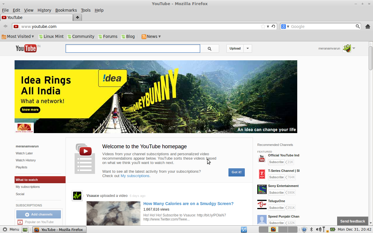 download youtube linux mint