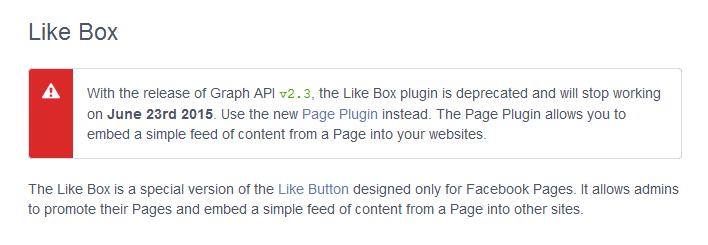 Like Box plugin is deprecated