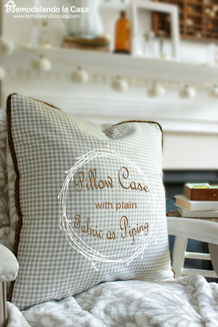 gingham pillow case - fall mantel