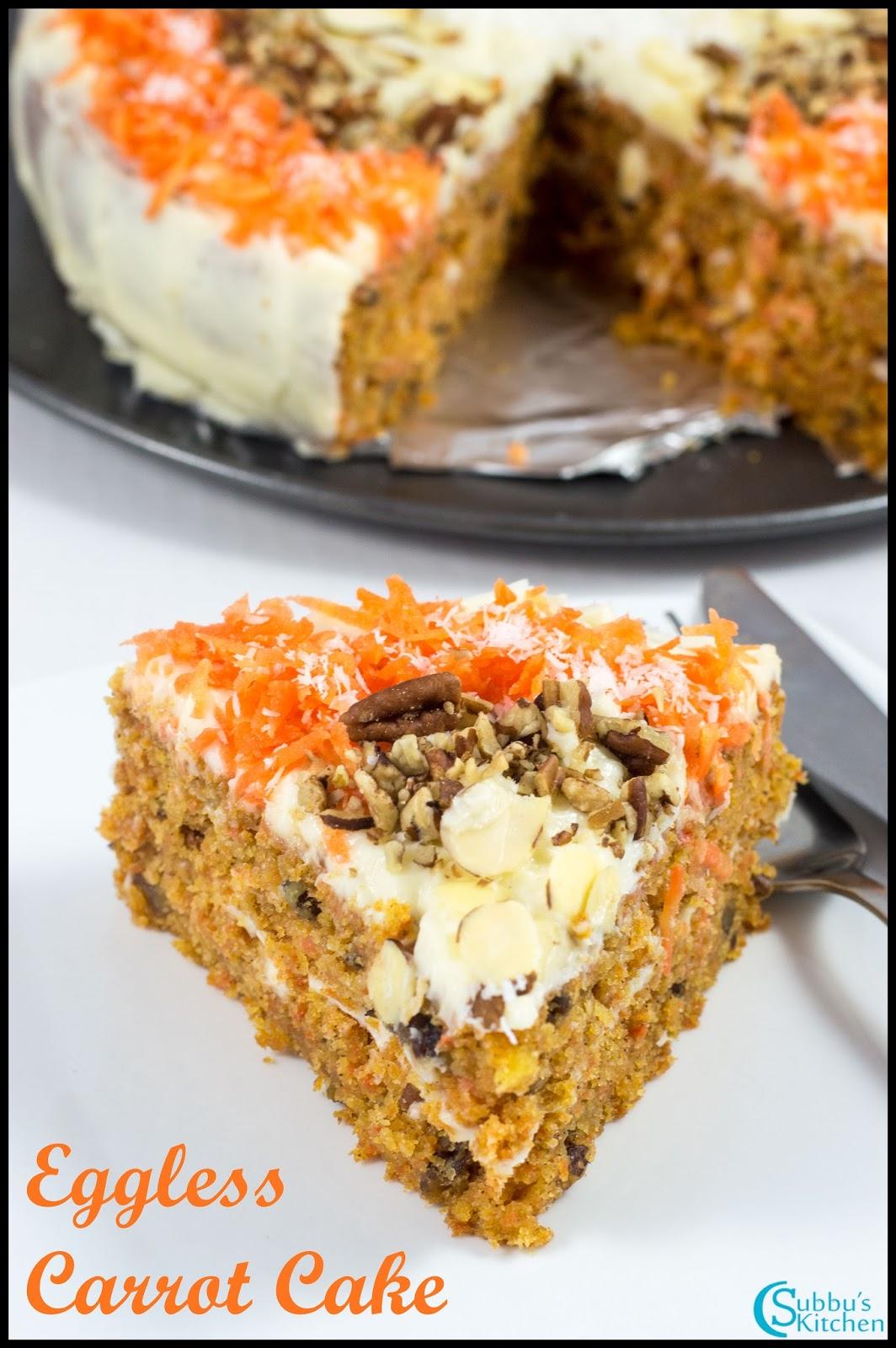 how to make eggless carrot cake