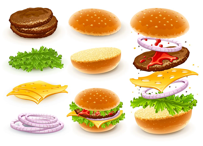 ハンバーガーの具材のクリップアート Fast food cheese hamburgers イラスト素材