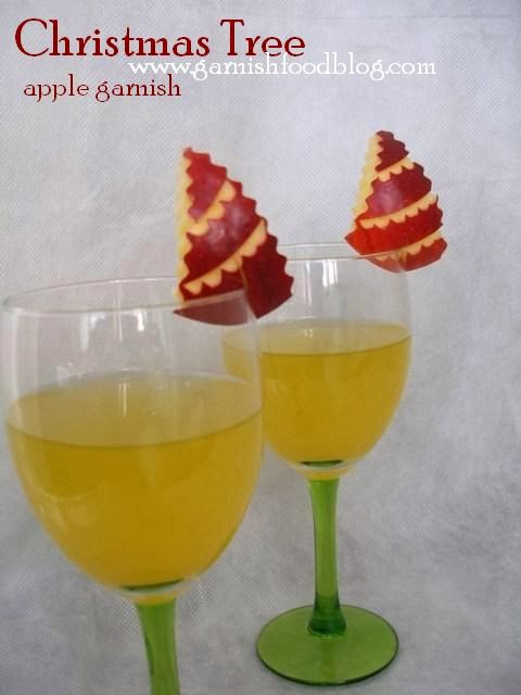 new year tree apple carving garnish for drinks